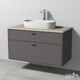 Sanipa Vindo Lavabo à poser avec meuble sous-lavabo, 2 tiroirs Façade gravier mat/corps du meuble gravier mat, poignée gravier mat