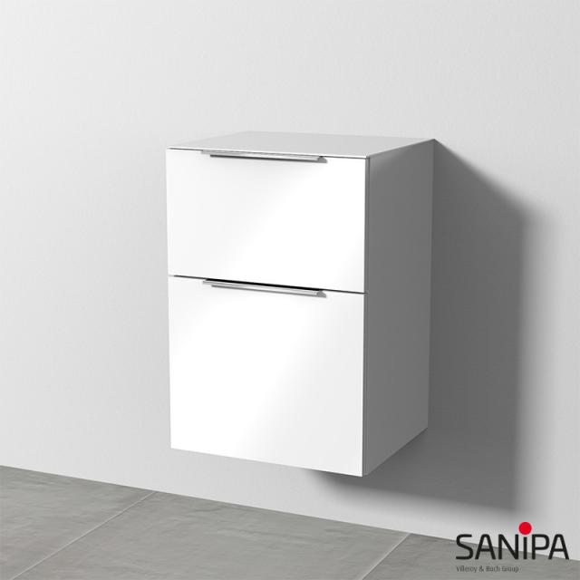 Sanipa 3way add-on unit with 2 pull-out compartments front white gloss/corpus white gloss, with handle