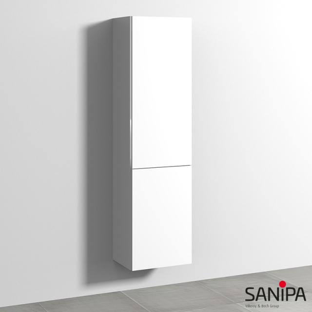 Sanipa 3way tall unit with 1 door and 1 laundry basket front soft white/corpus soft white, with handle strip