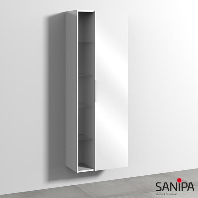 Sanipa 3way tall unit with 1 door and side rack front white gloss / corpus white gloss, with handle strip