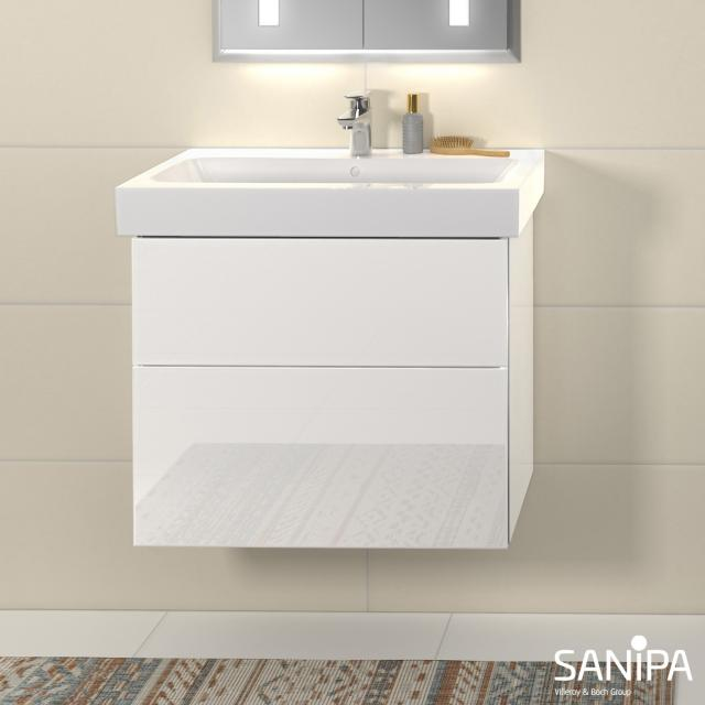 Sanipa 3way vanity unit with 2 pull-out compartments for iCon front white gloss / corpus white gloss
