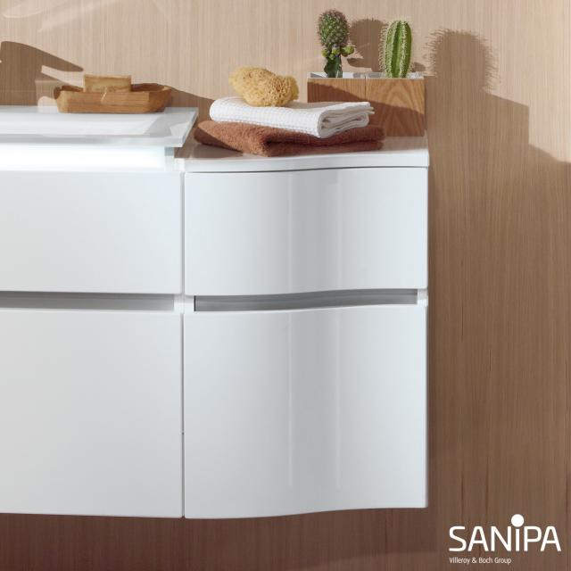 Sanipa CantoBay curved add-on unit with 2 drawers front white gloss / corpus white gloss