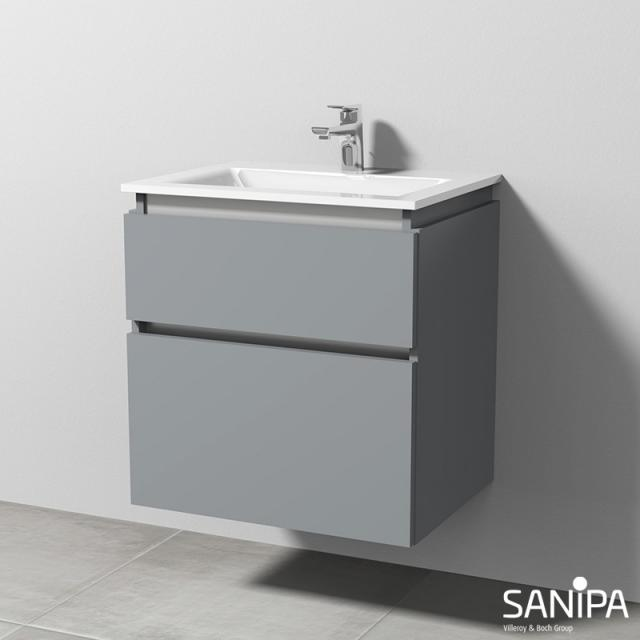 Sanipa CantoBay vanity unit with 2 pull-out compartments front stone grey / corpus stone grey