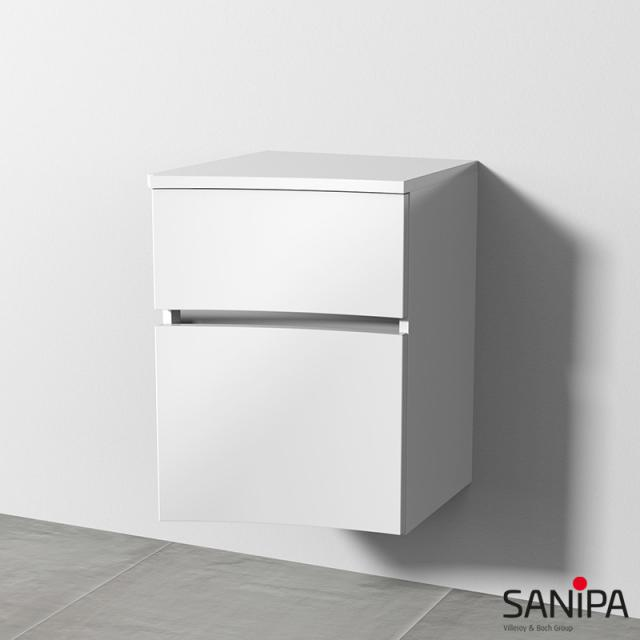 Sanipa CurveBay curved add-on unit with 2 drawers front white gloss / corpus white gloss