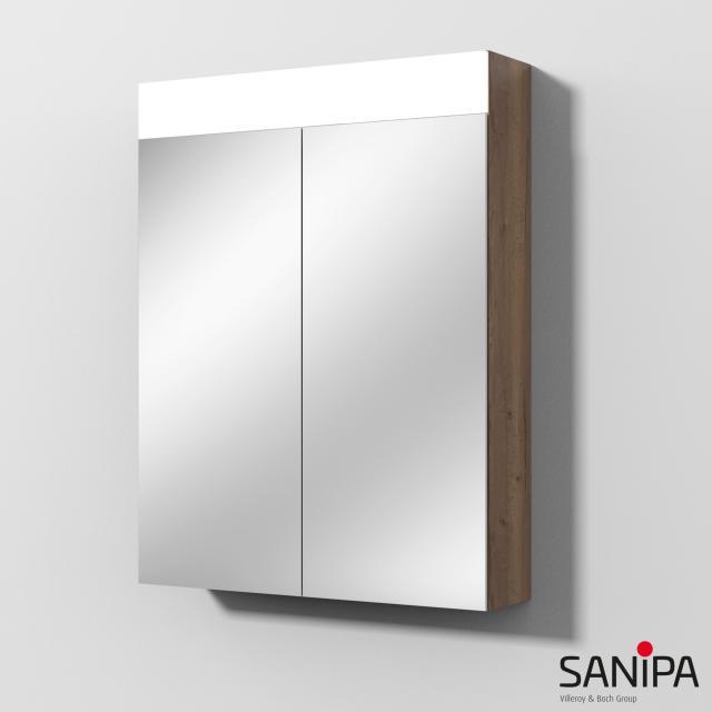 Sanipa Reflection MARA mirror cabinet with LED lighting tobacco oak