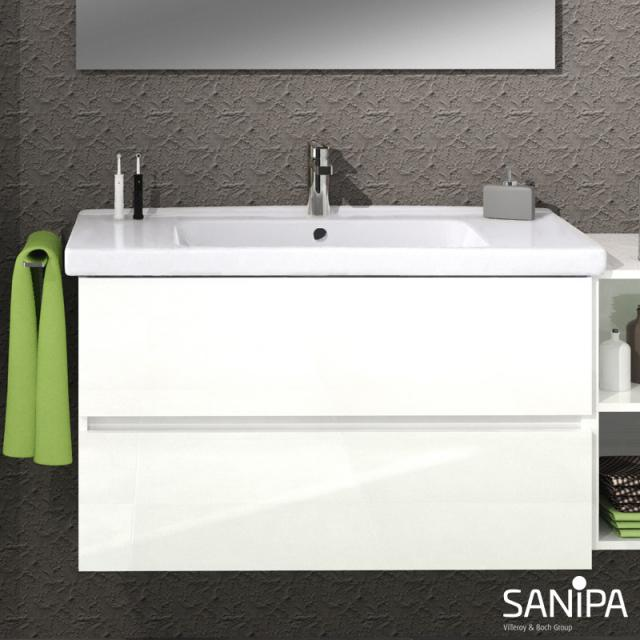 Sanipa Solo One Harmonia washbasin with vanity unit with 2 pull-out compartments front white gloss / corpus white gloss