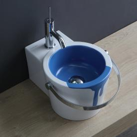 Scarabeo Bucket countertop or wall-mounted washbasin with decor white/blue