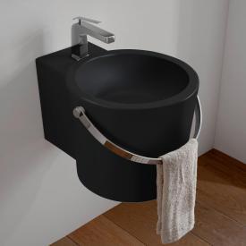 Scarabeo Bucket countertop or wall-mounted washbasin matt black, with BIO system coating