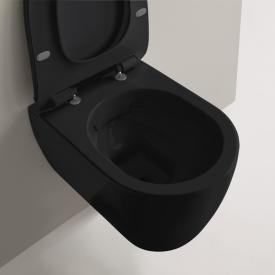Scarabeo Moon wall-mounted washdown toilet, rimless black, with BIO system