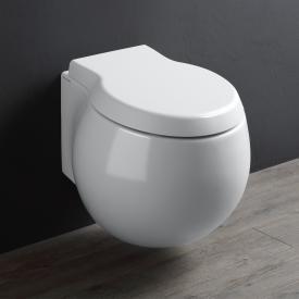Scarabeo Planet wall-mounted, washdown toilet with toilet seat, rimless white