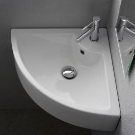 Scarabeo Square E corner countertop or wall-mounted washbasin white, with BIO system coating