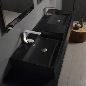 Scarabeo Teorema 2.0 double countertop or wall-mounted hand washbasin black, with BIO system coating