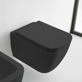 Scarabeo Teorema 2.0 wall-mounted, washdown toilet with toilet seat, rimless matt black, with BIO System coating
