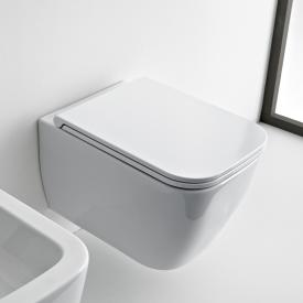 Scarabeo Teorema 2.0 wall-mounted, washdown toilet with toilet seat, rimless white, with BIO System coating