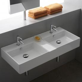 Scarabeo Teorema R double countertop or wall-mounted washbasin white, with BIO system coating