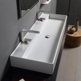 Scarabeo Teorema RB double countertop or wall-mounted washbasin white, with BIO system coating