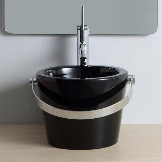 Scarabeo Bucket countertop or wall-mounted washbasin black, with BIO system coating