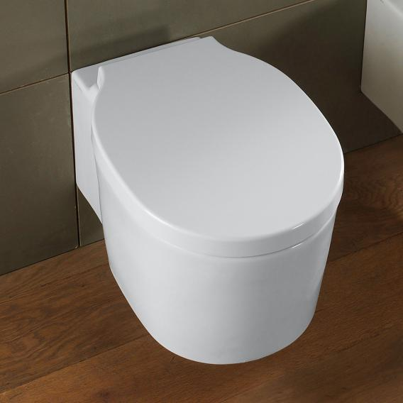 Scarabeo Bucket wall-mounted, washdown toilet with toilet seat, rimless white, with BIO System coating