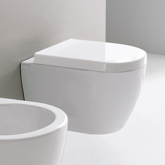 Scarabeo Moon wall-mounted washdown toilet, short version, rimless white, with BIO system coating