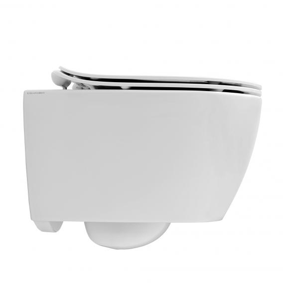Scarabeo Moon wall-mounted washdown toilet, rimless black, with BIO system coating
