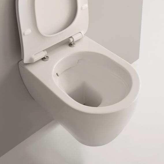 Scarabeo Moon wall-mounted washdown toilet rimless, matt white, with BIO System coating
