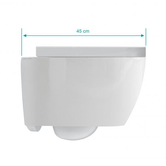 Scarabeo Moon wall-mounted, washdown toilet with toilet seat, rimless, short version white, with BIO System coating