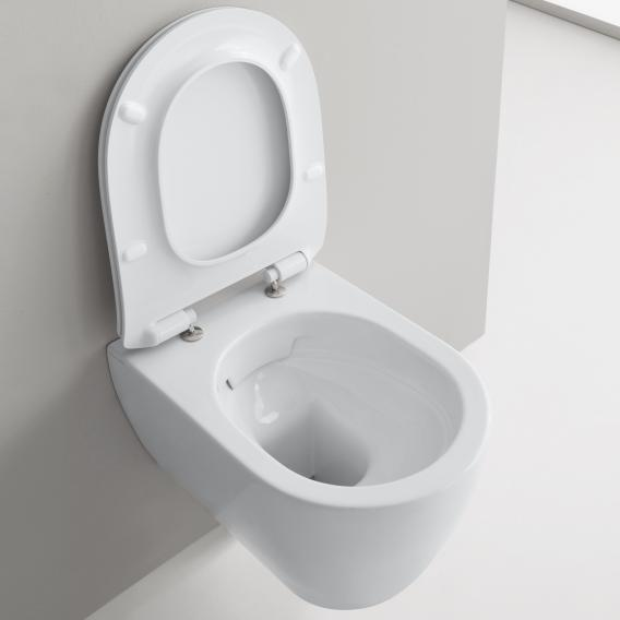 Scarabeo Moon wall-mounted, washdown toilet with toilet seat, rimless white, with BIO System coating
