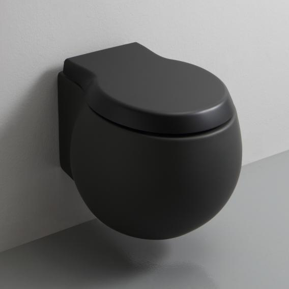 Scarabeo Planet wall-mounted, washdown toilet with toilet seat, rimless matt black, with BIO System coating