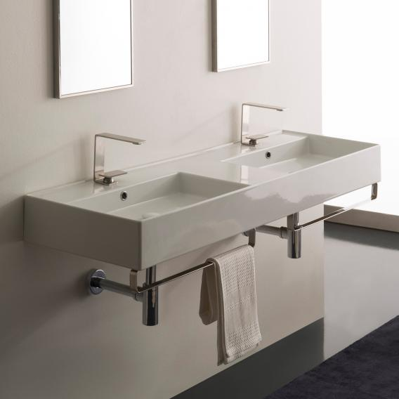 Scarabeo Teorema 2.0 double countertop or wall-mounted hand washbasin white, with BIO system coating