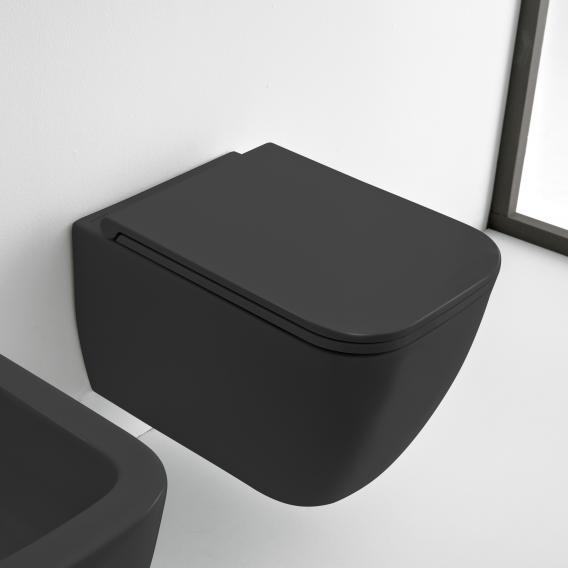 Scarabeo Teorema 2.0 wall-mounted washdown toilet, rimless matt black, with BIO System coating