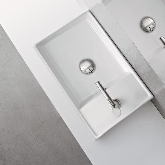 Scarabeo Teorema R countertop or wall-mounted hand washbasin white, with BIO system coating