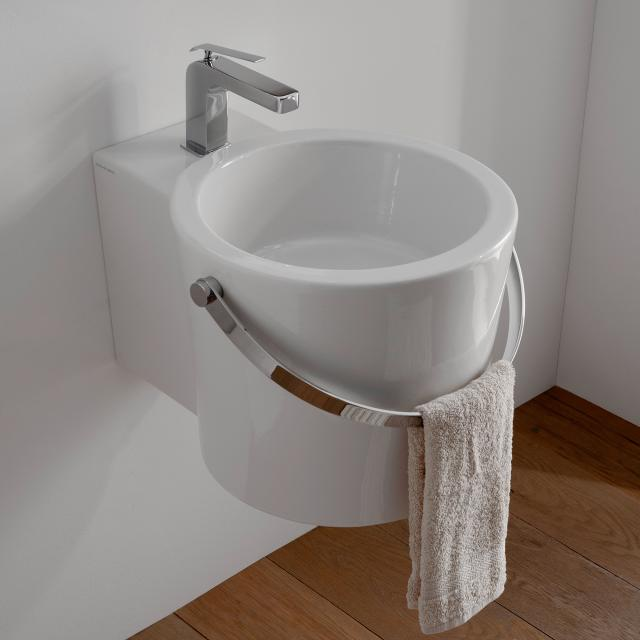 Scarabeo Bucket countertop or wall-mounted washbasin white, with BIO system coating