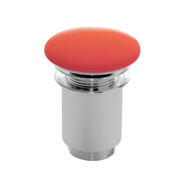 Scarabeo click-clack waste valve with ceramic cover, with overflow connection orange