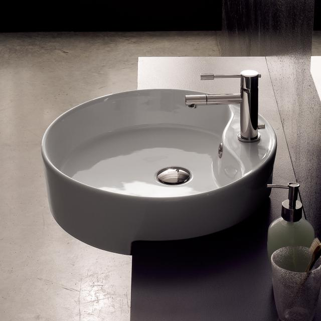 Scarabeo Geo D semi-recessed washbasin white, with BIO system coating