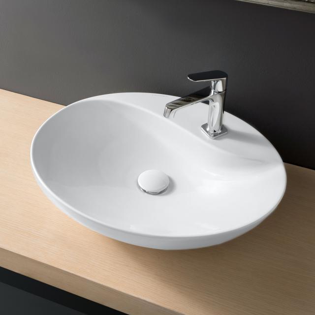 Scarabeo Moai countertop washbasin white, with BIO system coating