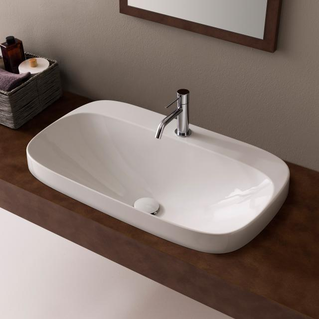 Scarabeo Moon drop-in washbasin white, with BIO system coating