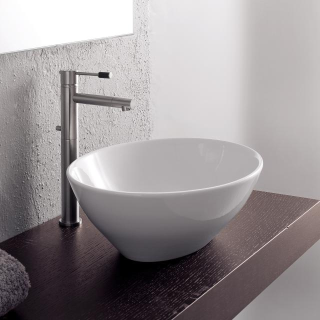Scarabeo Ovo countertop washbasin white, with BIO system coating