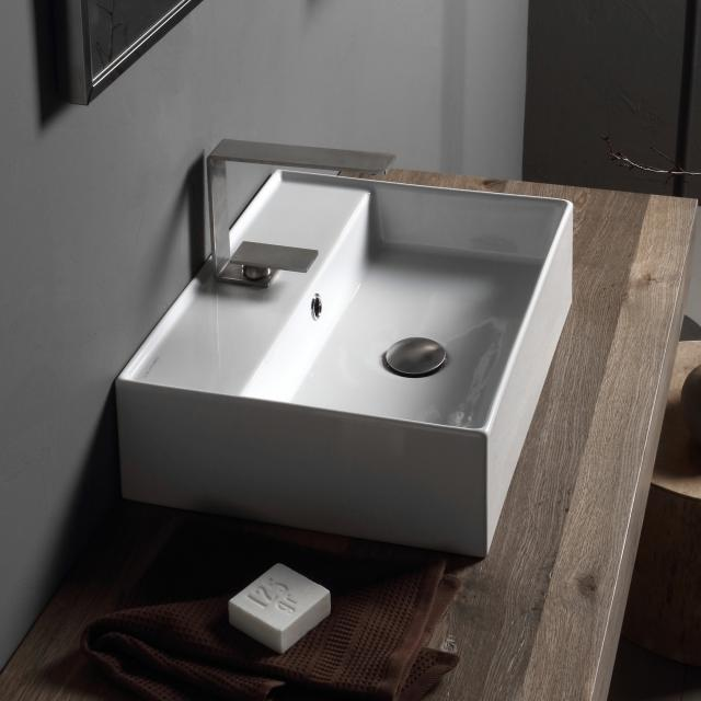 Scarabeo Teorema 2.0 countertop or wall-mounted hand washbasin white, with BIO system coating