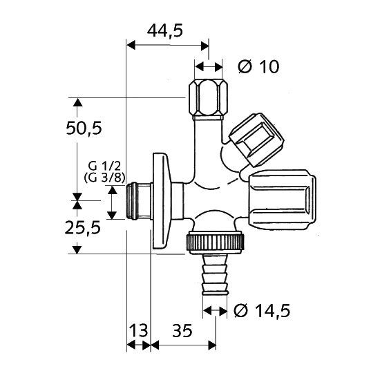 Schell COMFORT combination angle valve self-sealing, with compression joint
