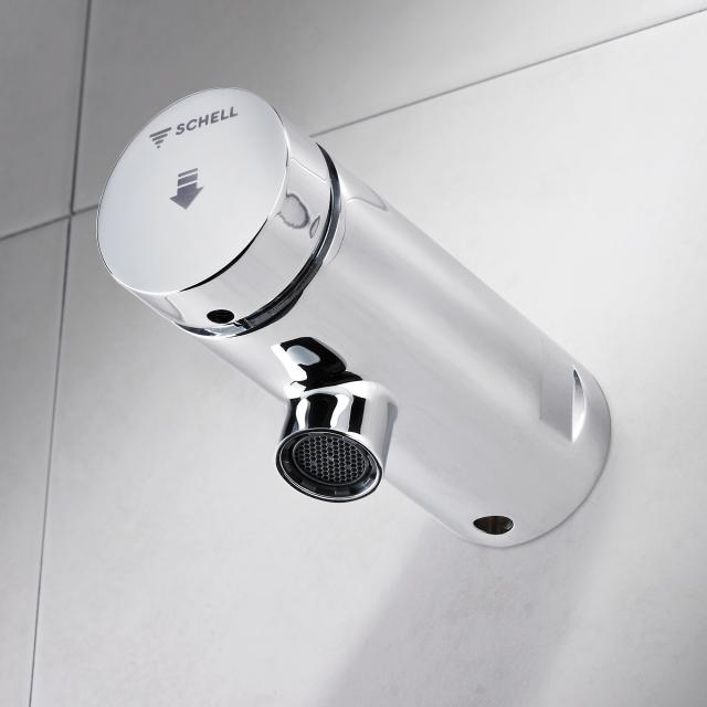 Schell Petit self-closing wall-mounted basin fitting