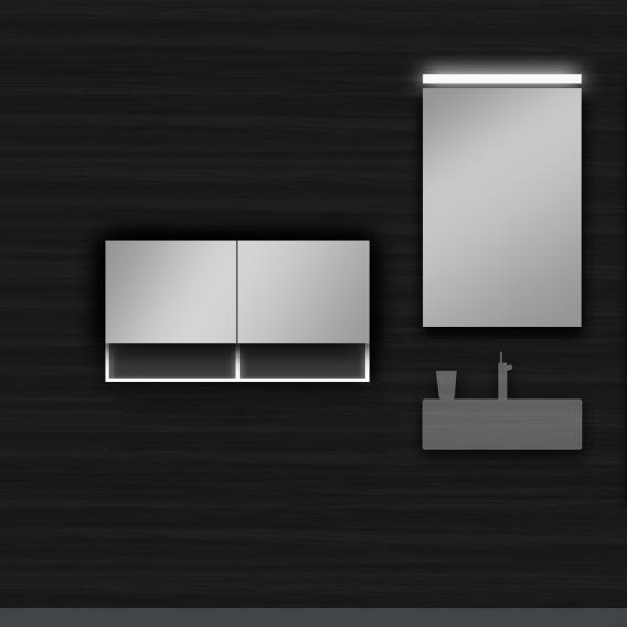 Schneider C-LINE wall unit with 2 doors and 2 open compartments front mirrored / corpus white