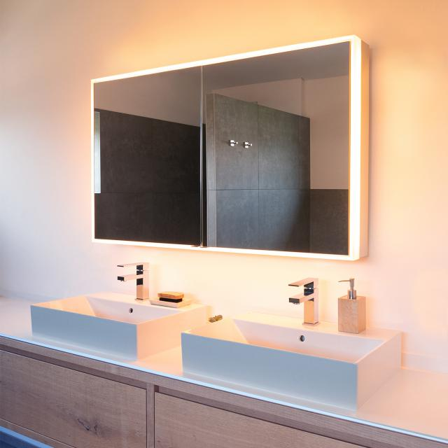 Schneider PREMIUMLINE Ultimate mirror cabinet with LED lighting with 2 doors silver anodised, socket on the left and right