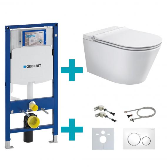 Schütte Cesari shower toilet with toilet seat, installation & connection accessories and Sigma20 flush plate