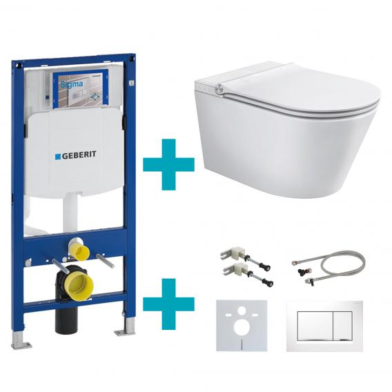 Schütte Cesari shower toilet with toilet seat, installation & connection accessories and Sigma30 flush plate
