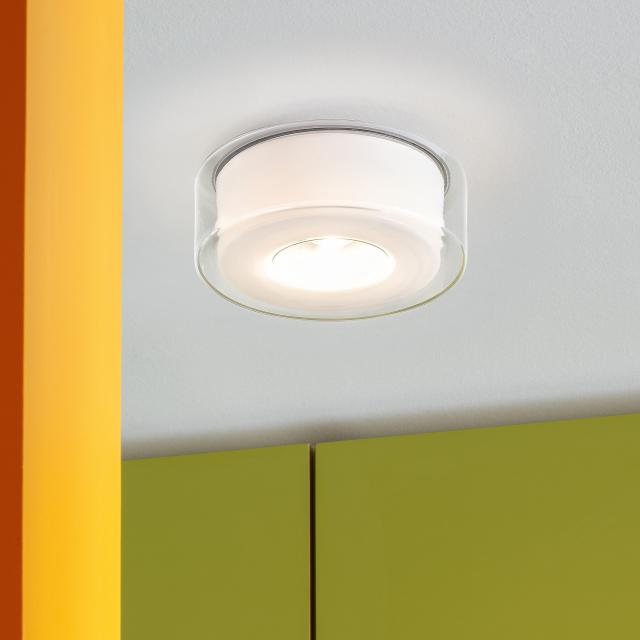 serien.lighting Curling LED ceiling light, opal cylindrical