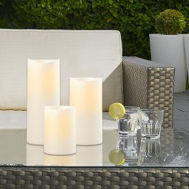 Sompex LED outdoor candle set of 3 with timer, remote controllable