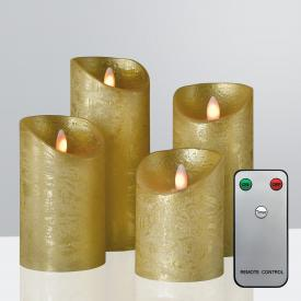 Sompex Shine LED set of 4 real wax candles with timer and remote control, small