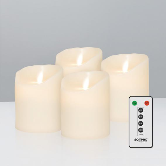 Sompex Flame LED real wax candles set of 4 extra small with timer and remote control