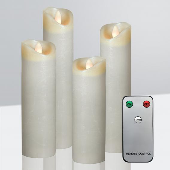 Sompex Shine LED set of 4 real wax candles with timer and remote control, large