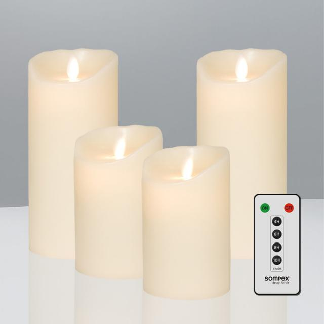 Sompex Flame real wax LED candle set of 4 with timer and remote control